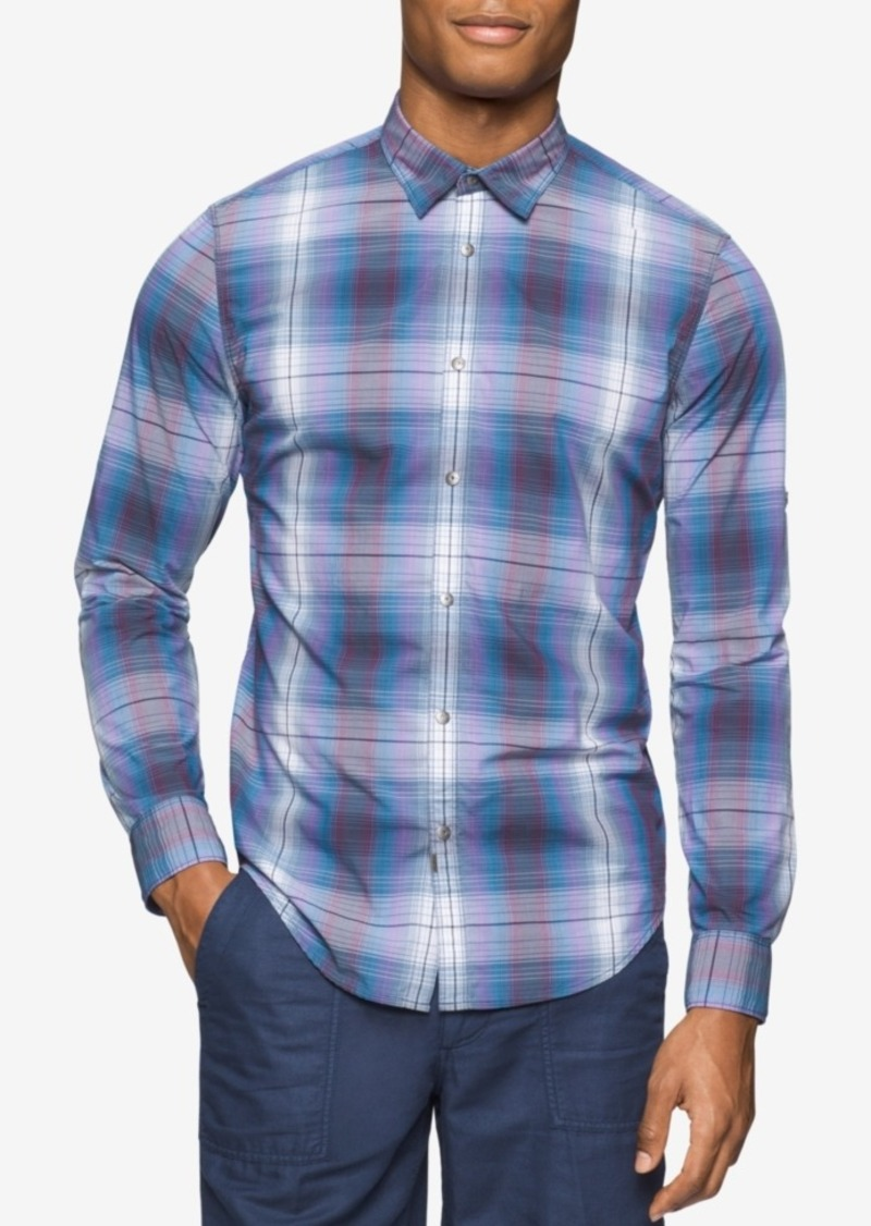 Calvin Klein Jeans Men's Road Map Plaid Long-Sleeve Shirt