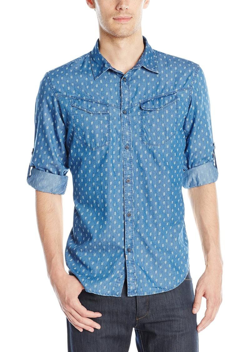Calvin Klein Jeans Men's Roll Tab Invaders Print Button Down Shirt  Medium