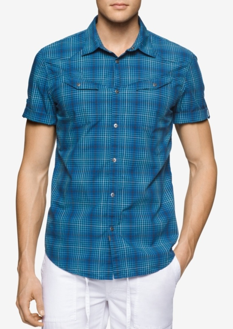 Calvin Klein Jeans Men's Rolling Plaid Short-Sleeve Shirt