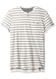Calvin Klein Jeans Men's Short Sleeve Bar Stripe Slit Neck T-Shirt ECRU 2X-Large