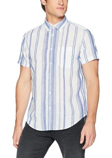 Calvin Klein Jeans Men's Short Sleeve Button Down Shirt Beach Stripe  M