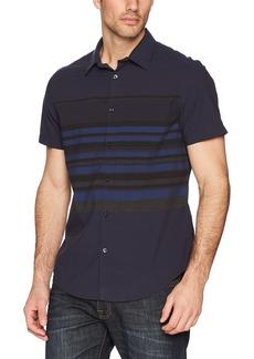 Calvin Klein Jeans Men's Short Sleeve Button Down Shirt Horizontal Stripe  XS