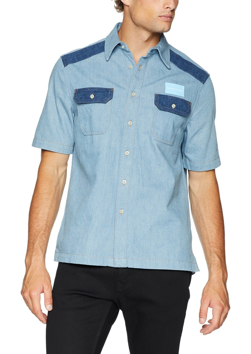 Calvin Klein Jeans Men's Short Sleeve Button Down Uniform Shirt