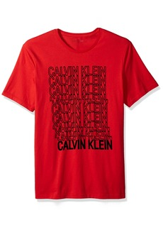 Calvin Klein Jeans Men's Short Sleeve Flock Logo Crew Neck T-Shirt