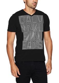 Calvin Klein Jeans Men's Short Sleeve Ckj Outlines Logo V-Neck T-Shirt