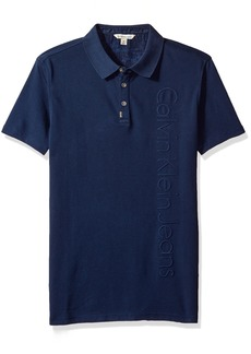 Calvin Klein Jeans Men's Short Sleeve Deboss Ck Logo Polo Shirt