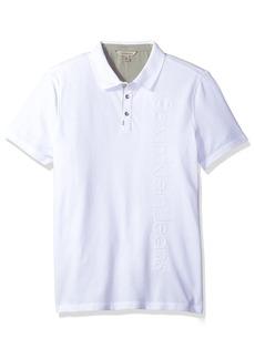 Calvin Klein Jeans Men's Short Sleeve Deboss CK Logo Polo Shirt White