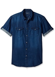 Calvin Klein Jeans Men's Short Sleeve Denim Button Down Shirt  X-SMALL