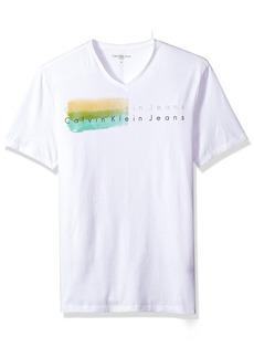 Calvin Klein Jeans Men's Short Sleeve Double Strokes Logo V-Neck T-Shirt