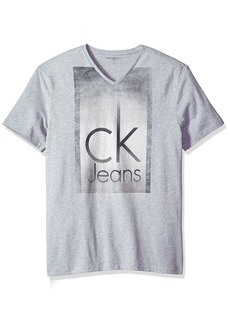 Calvin Klein Jeans Men's Short Sleeve Fog Knockout Logo V-Neck T-Shirt  2X-Large
