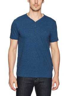 Calvin Klein Jeans Men's Short Sleeve Grindle Y-Neck Henley Denim