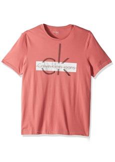 Calvin Klein Jeans Men's Short Sleeve Linear Cut CK Logo Crew Neck T-Shirt