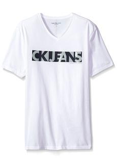 Calvin Klein Jeans Men's Short Sleeve Overlap Ck Logo V-Neck T-Shirt