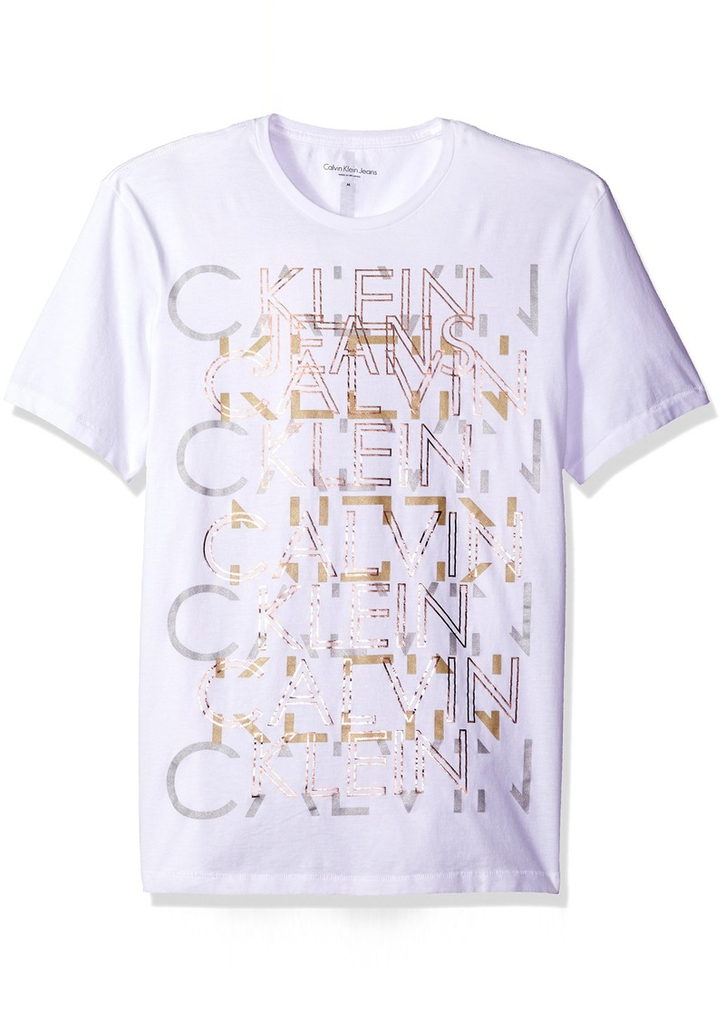 19449539a370 Calvin Klein Jeans Men's Short Sleeve Repeat Ckj Logo Crew Neck T-Shirt  White
