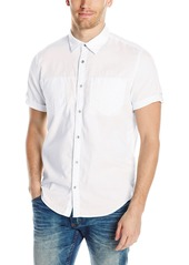 Calvin Klein Jeans Men's Short Sleeve Roll Tab Double Pocket Button Down Shirt White 2X-Large