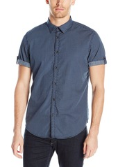 Calvin Klein Jeans Men's Short Sleeve Roll Tab Rollup Diamond Print Button Down Shirt  2X-Large