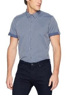 Calvin Klein Jeans Men's Short Sleeve Roll Up Button Down Shirt Stripe  L