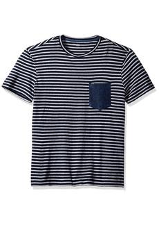 Calvin Klein Jeans Men's Short Sleeve Stripe Crew Neck T-Shirt with Denim Pocket  MEDIUM