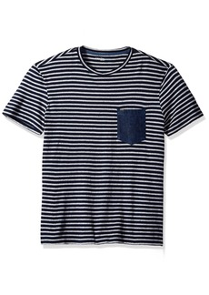 Calvin Klein Jeans Men's Short Sleeve Stripe Crew Neck T-Shirt with Denim Pocket  MEDIUM