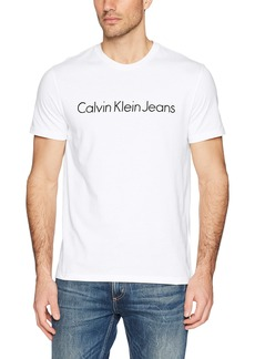 Calvin Klein Men's Short Sleeve T-Shirt Basic Logo Crew Neck standard white