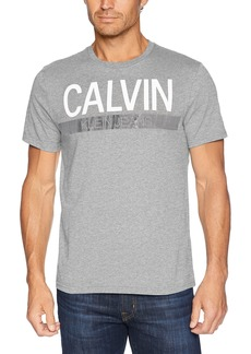 Calvin Klein Jeans Men's Short Sleeve T-Shirt Knockout Stripe Logo  L