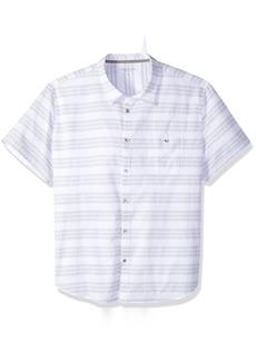 Calvin Klein Jeans Men's Short Sleeve Textured Stripe Button Down Shirt