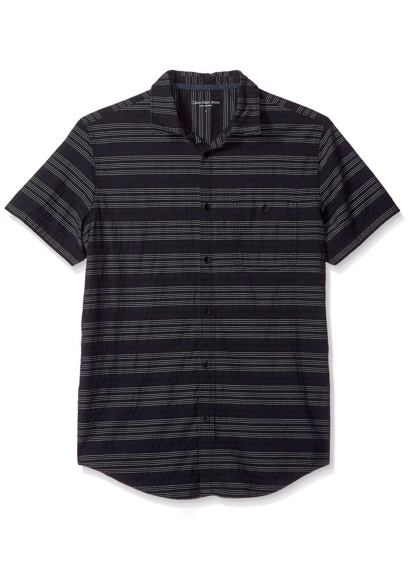Calvin Klein Jeans Men's Short Sleeve Textured Stripe Button Down Shirt  2X-Large