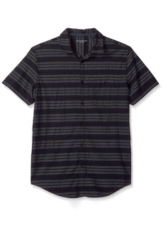 Calvin Klein Jeans Men's Short Sleeve Textured Stripe Button Down Shirt