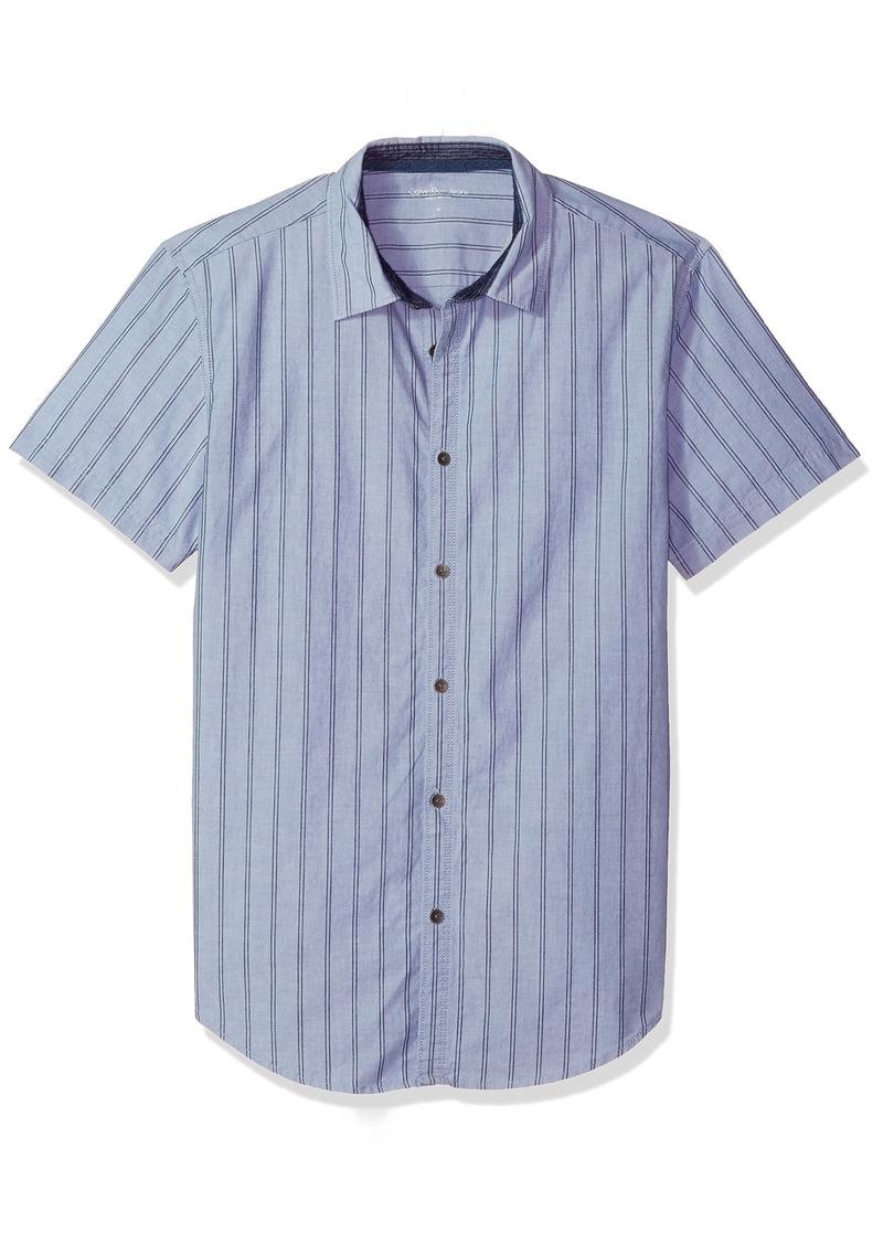 Calvin Klein Jeans Men's Short Sleeve Vertical Stripe Button Down Shirt riverbed