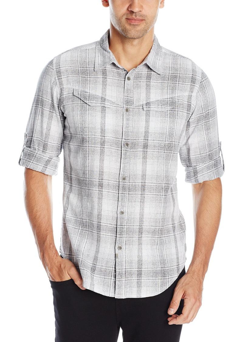 Calvin Klein Jeans Men's Slub Indigo Check Roll Tab Long Sleeve Button Down Shirt  2X-Large