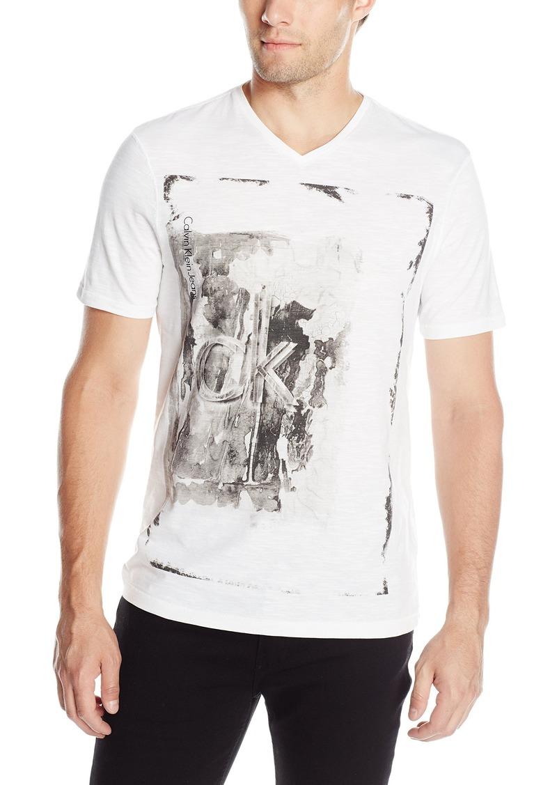 Calvin Klein Jeans Men's Textural Ck Logo Graphic V-Neck T-Shirt  2X-Large