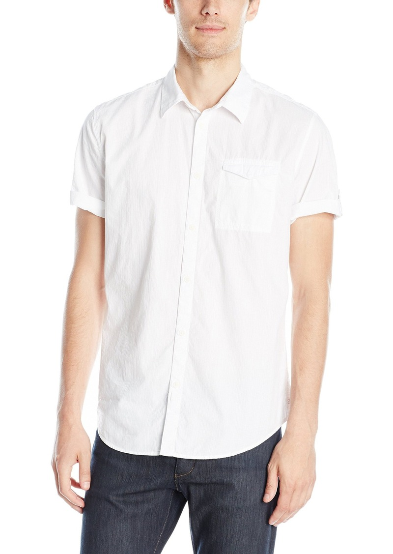 Calvin Klein Jeans Men's Vertical Stripe Short Sleeve Button Down Shirt White