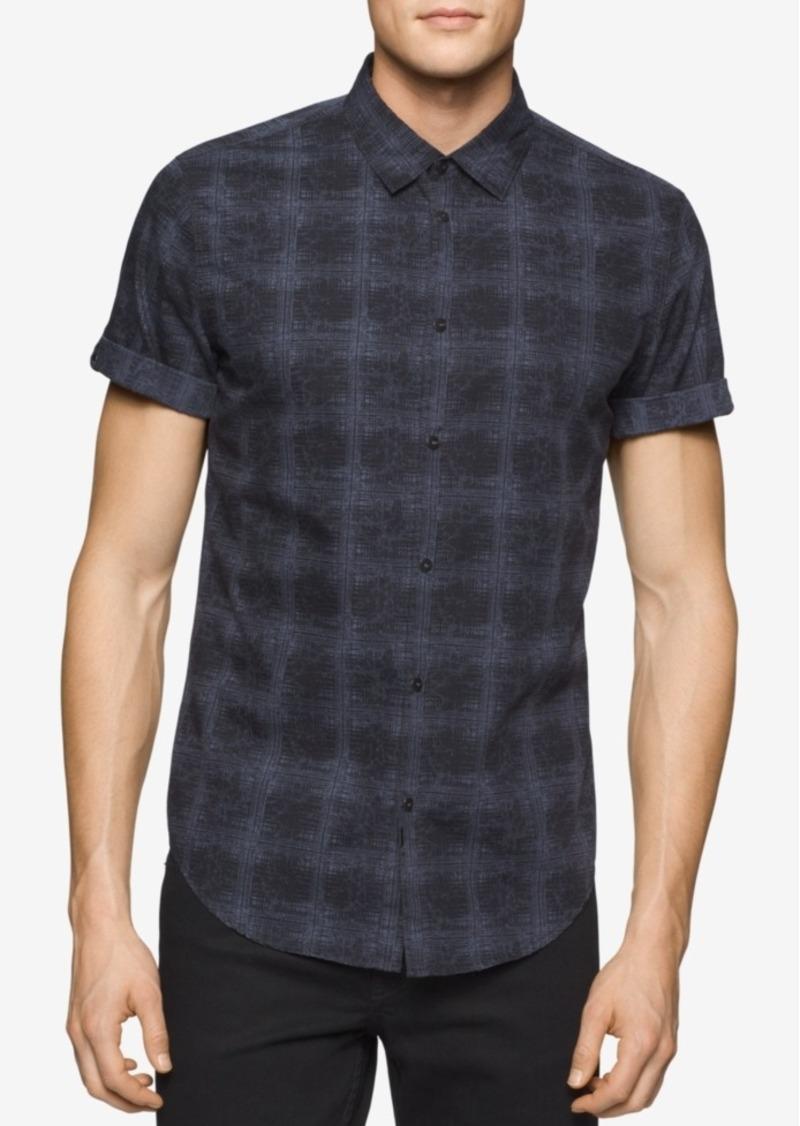 Calvin Klein Jeans Men's Watermark Plaid Short-Sleeve Shirt