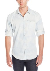 Calvin Klein Jeans Men's White Wave Denim Long Sleeve Button Down Shirt