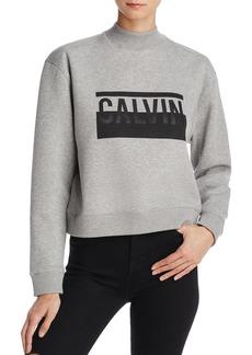 Calvin Klein Jeans Mock Neck Cropped Logo Sweatshirt