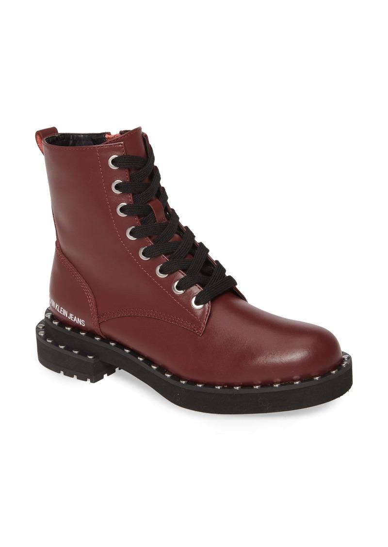 Calvin Klein Jeans Nannie Stud Welt Combat Boot (Women)
