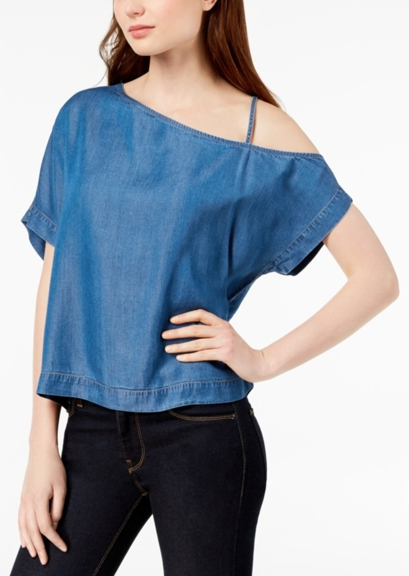 Calvin Klein Jeans One-Shoulder Chambray Top