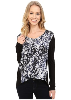 Calvin Klein Jeans Printed Long Sleeve Woven Knit Mix Top