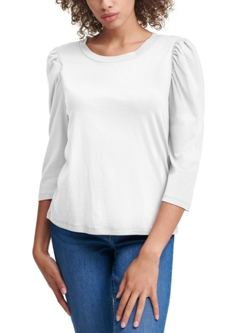 Calvin Klein Jeans Puff-Sleeve Scoop-Neck Top