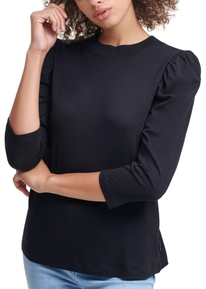 Calvin Klein Jeans Puffed Sleeve Mock Neck Top