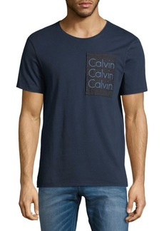 Calvin Klein Short-Sleeve Patch Denim Tee