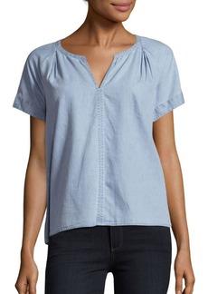 Calvin Klein Jeans Solid Split V-Neck Blouse