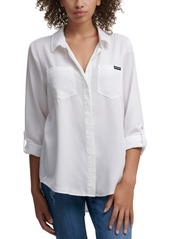 Calvin Klein Jeans Split Back Button Down Top