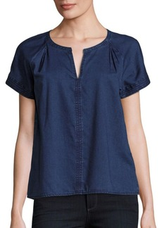 Calvin Klein Jeans Split Neck Tencel Blouse