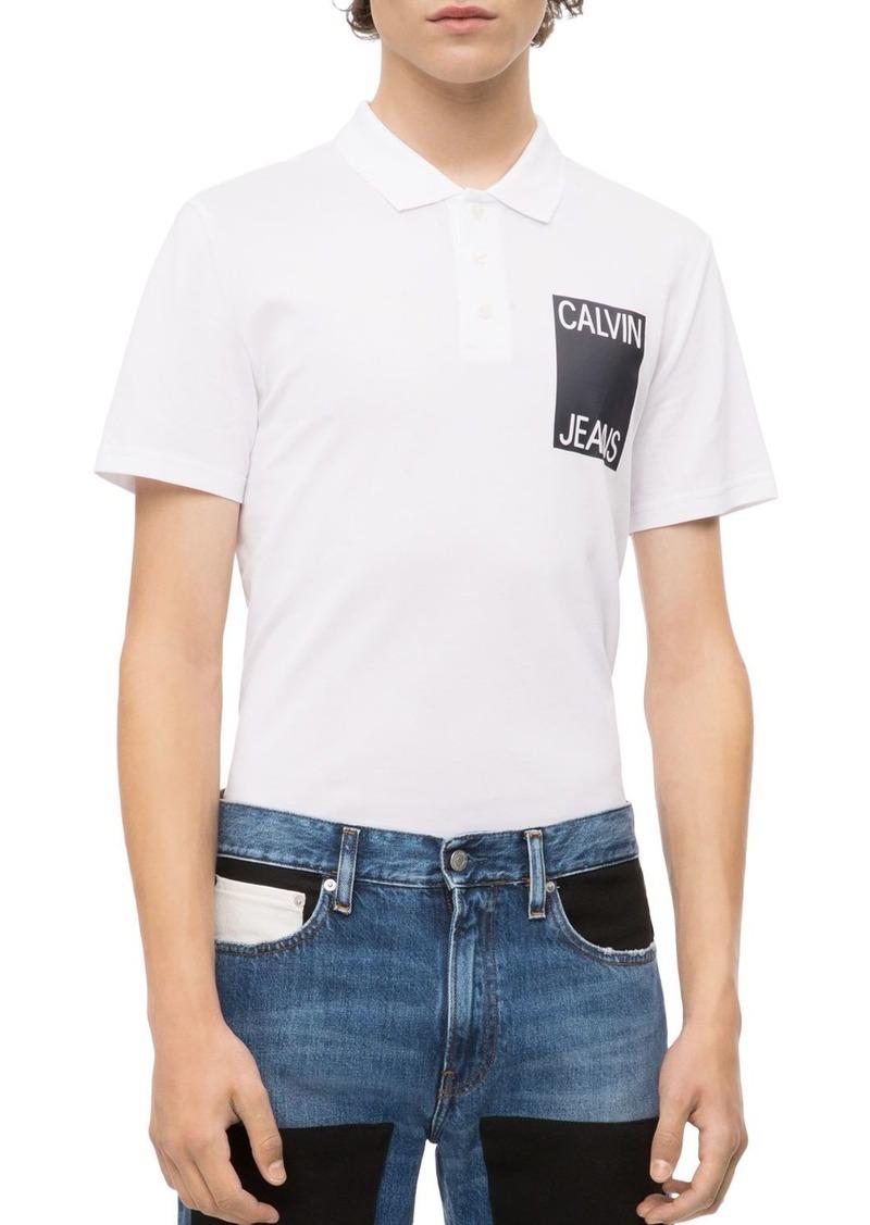 Calvin Klein Jeans Stacked Logo Pique Polo Shirt