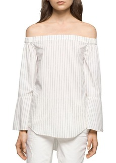 Calvin Klein Jeans Striped Off-the-Shoulder Top