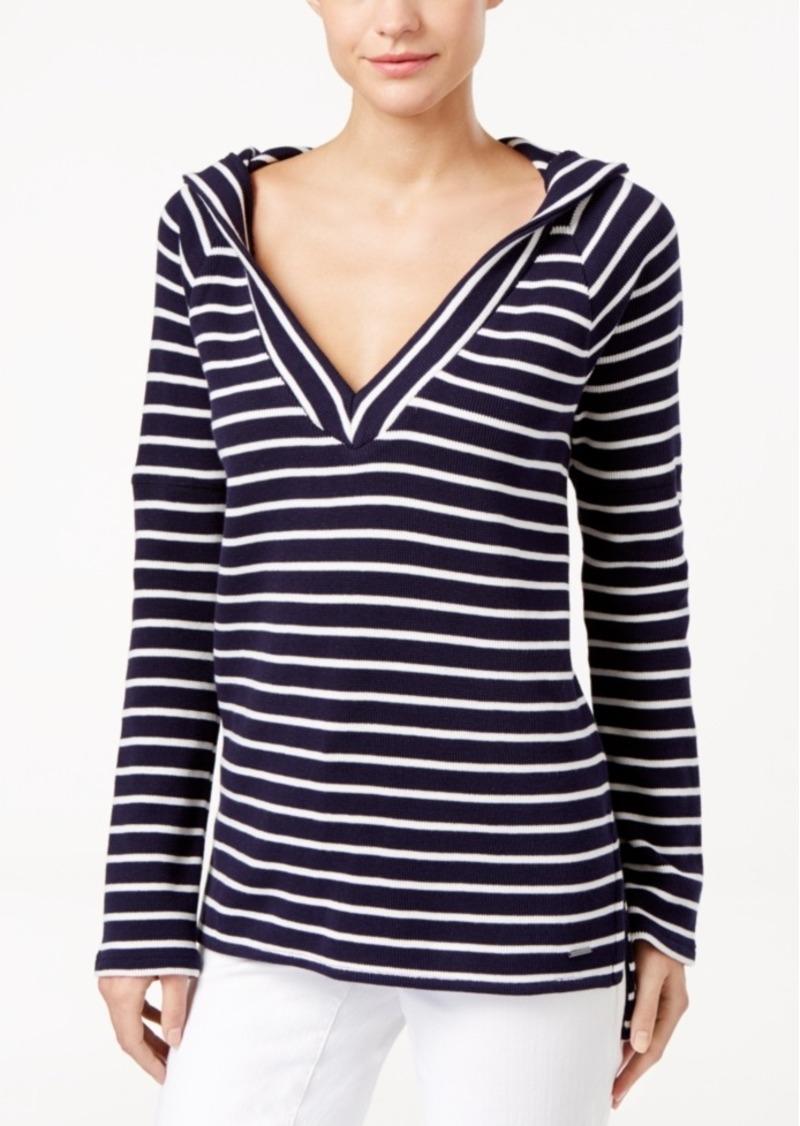 calvin klein calvin klein jeans striped pullover hoodie. Black Bedroom Furniture Sets. Home Design Ideas