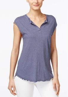 Calvin Klein Jeans Striped Split-Neck Top