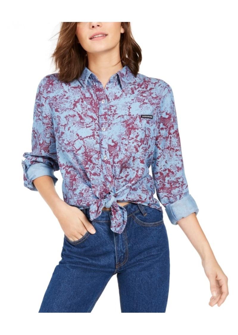 Calvin Klein Jeans Tencel Snake-Print Button-Down Shirt