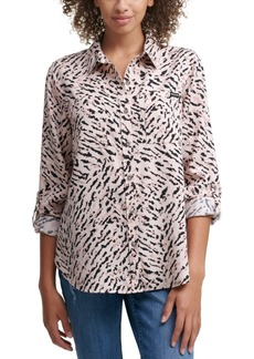 Calvin Klein Jeans Tiger Print Button Front Top